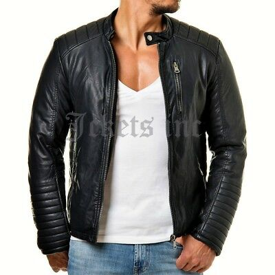 New Men Genuine Black Lambskin Leather Jacket CASUAL MOTORCYCLE Slim fit Biker