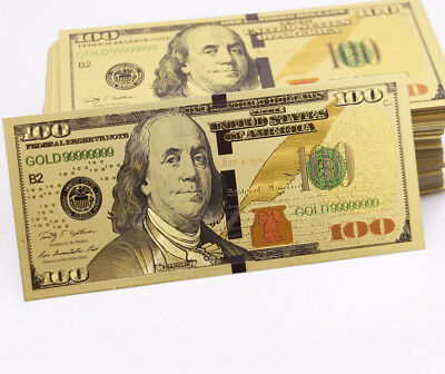 Gold Plated $ 100 dollar Banknotes Crafts Creative Gift Collection High Quality