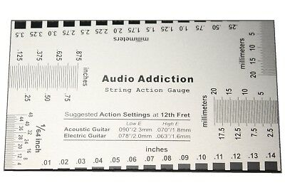 String Action Gauge Luthier Setup Ruler Electric Guitar Bass Ships from USA !!!