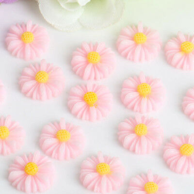 50 Mixed Color Cabochon Daisy Flower Flatback Resin Craft DIY Embellishments