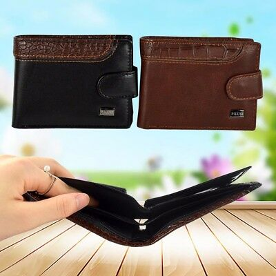 Mens Leather Bifold Wallet Pocket Clutch ID Credit Card Holder Slim Coin Purse
