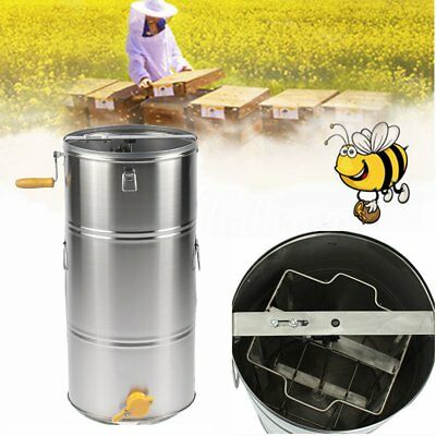 2 Frame Stainless Steel Honey Extractor Manual Honeycomb Beekeeping Spinner Tank