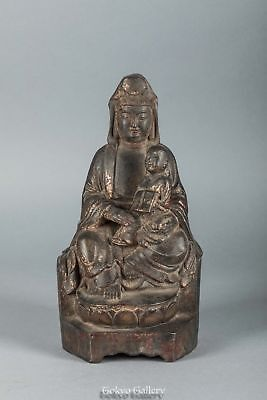 Ming Dynasty Chinese Antique Gilt-Bronze Figure of Guanyin