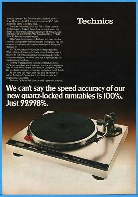 1979 Technics Q-2 Q-3 Quartz Locked Turntables Vintage Photo Print Ad