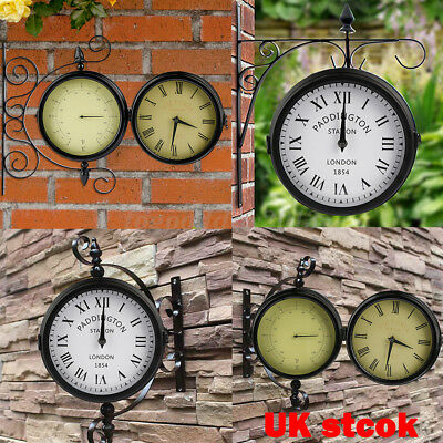 Uk Garden Wall Clock Thermometer Double Sided Retro Metal Outdoor Patio Ornament