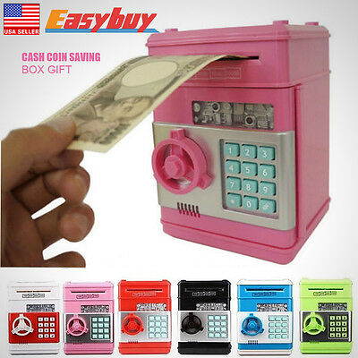 Money Safe Saving Box Cash Machine Coin Piggy Bank Can Mini ATM Kids Toy Gift