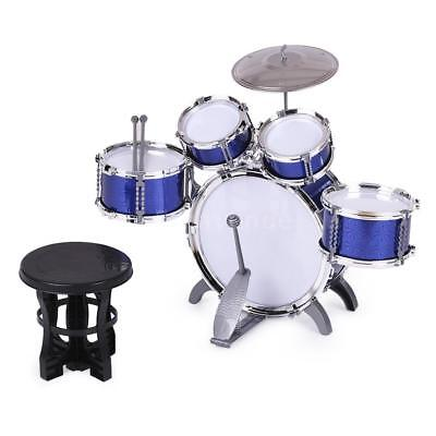 Blue Drum Set 5 Piece Junior Complete Child Kids Kit with Stool Stick