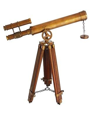 """Double Barrel Antique Nautical Navy Bras Telescope18"""" With Wooden Tripod Stand"""