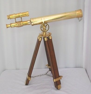 """Nautical Navy Brass Double Barrel Telescope18"""" With Wooden Tripod Stand"""
