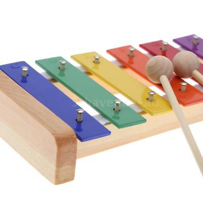 Wood Pine Xylophone 8-Note 3mm Colorful Aluminum Plate C Key Percussion V7F6