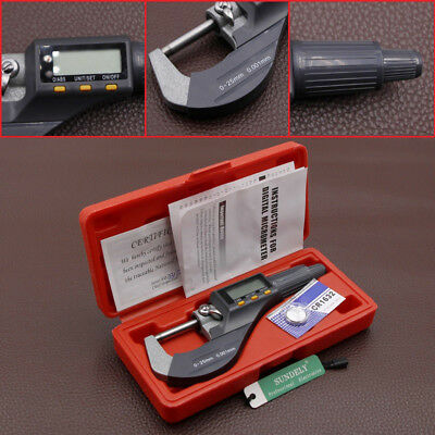 "0-1"" 0.00005"" LCD Digital Electronic Outside Micrometer Carbide Tip 0-25mm Kit"