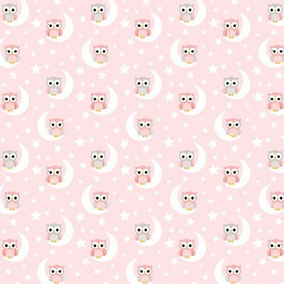 "Gorgeous  ""Pink Owls"" Printed Fabric Sheet..hair Bows, Glitter,"