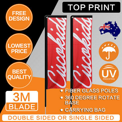 Custom 2.2M Premium Teardrop Flags Business Sign Flying Banner