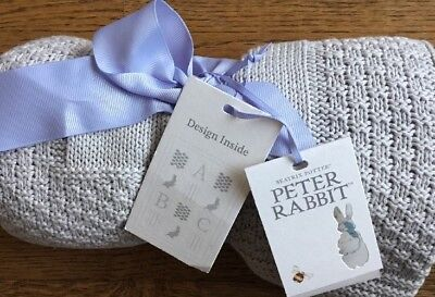 Mothercare Peter Rabbit Grey Knitted Patterned Blanket / Shawl ** Bnwt **
