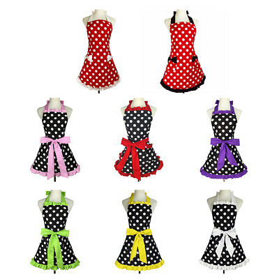 Kitchen Apron For Women Retro Polka Dots Cooking Aprons Cafe Working Aprons