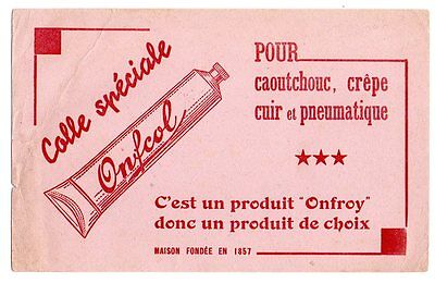 Buvard publicitaire colle Onfcol Onfroy