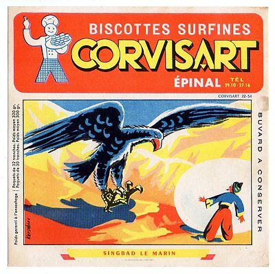 Buvard publicitaire biscottes Corvisart Epinal Singbad le marin