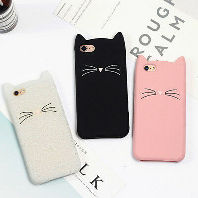 Cute 3D Cartoon Cat Ears Beard Soft Phone Case Shockproof Cover for iPhone 6S 7