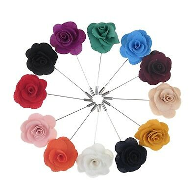12PCS Mens Flower Lapel Pin LOT SET Rose Wedding Event Assorted Color TopTie
