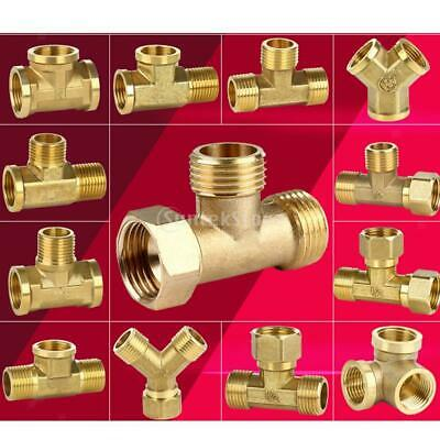 """Brass 1/2"""" Female 3 Way Hose Tee Connector Metal Adapter Gas Pipe Coupler"""