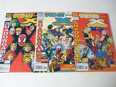 Spiderman And X-Factor : Shadow Games - Complete 3 Issue Mini Series. 1994