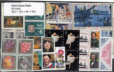 US Postage 20% Below $25.00 Face (50 each 32c + 10c + 8c), Mint, Original Gum