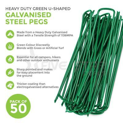 50 x GREEN U SHAPED GROUND PEGS PINS SECURING ARTIFICIAL GRASS WEED FABRIC TENT