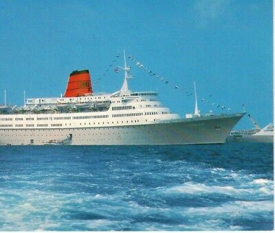 MS Vistafjord the last UK built Cruise Ship Cunard NAC unmarked postcard