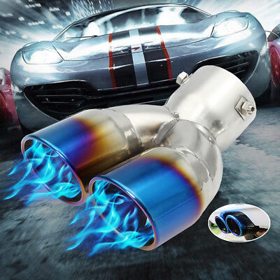 58mm-70mm Grilled Blue Dual Double Exhaust Muffler Pipe Silencer Tail Tip Car UK