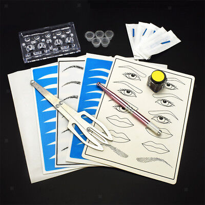 Permanent Makeup Kit Eyebrow Lip Tattoo Microblading Ink Practice Skin Set