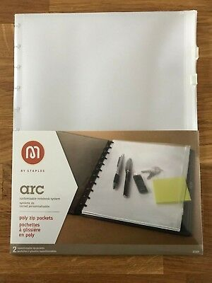 """Staples Arc System Poly Zip Pockets, Clear, 8 1/2"""" x 11"""""""