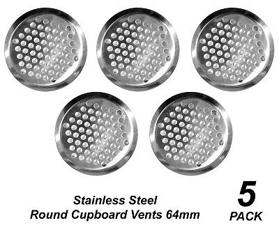 5 Pack Cupboard Vents Round 64mm - Stainless Steel Metal