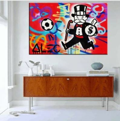Alec-Monopoly  Hand-Painted Oil Painting art graffiti canvas Soccer 24x36
