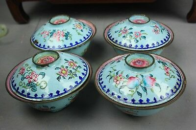 19th/20th C. Chinese Four Enamel Covered Bowls