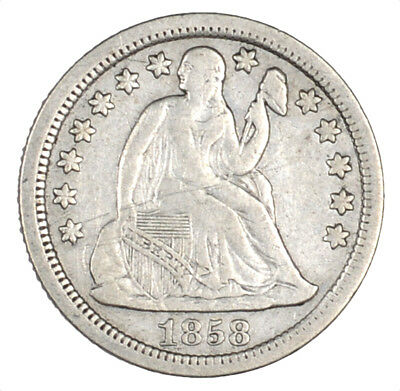 1858 Liberty Seated Silver Dime 10C Original