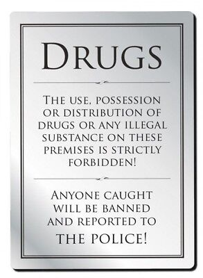 No Drugs Sign Pub Bar Restaurant Licensed Premises Notice Anti Drugs Warning