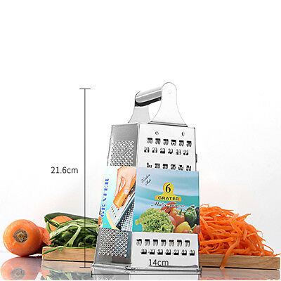 6 Sided 9 Inch Stainless Steel Grater Cheese Vegetable Grater Kitchen Utensil