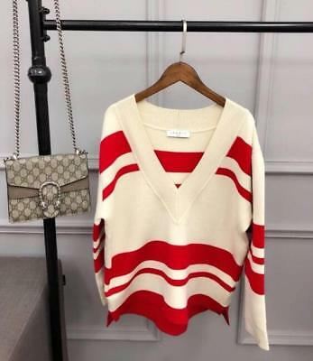 Lady New Knitting V Collar Sandro Red Striped Sweater