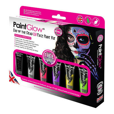 Paintglow Day Of The Dead UV Face Paint Kit, Glow In The Dark Halloween Make Up