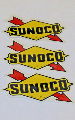 """VTG 1970s Lot of 3 Sunoco Racing Advertising Promotional Stickers 3.75"""""""
