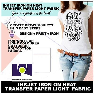 "Purple Line Light Fabrics Ink Jet Heat Iron On Transfer Paper 8.5X11"" -10 Sheets"