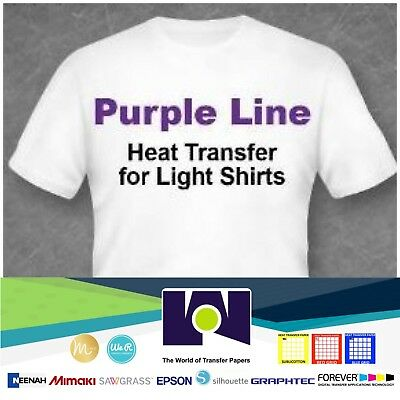 "Purple Line Light Colors Ink Jet Heat Iron On Transfer Paper 8.5X11"" -10 Sheets"