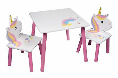 Unicorn Table & Chairs Set Pink Wooden Kids Toddlers Nursery Playroom Furniture