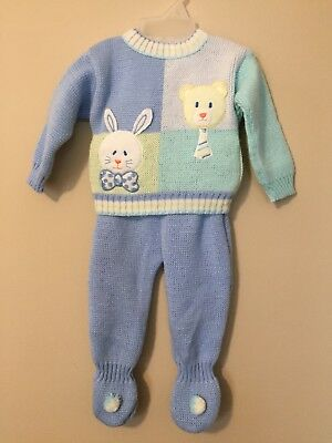 Vintage Infant Boys 3-6 Months Sweater Pants Set Knitted Footed Rabbit Bear A120