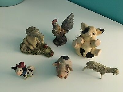 Mixed Lot of 6 porcelain, ceraminc, etc Farm figurines, various animals, sizes
