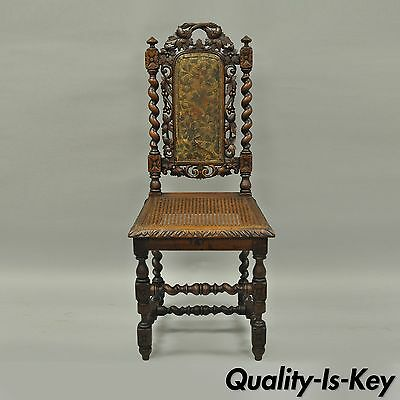 Renaissance Revival Black Forest Carved Oak Barley Twist Cane Dining Chair B