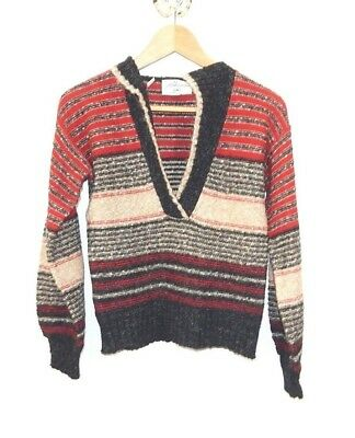 VINTAGE Cafe SWEATER Adrienne for SW1 ITALY Red Black Beige V-neck Knit S  EUC