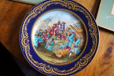 "Antique Sevres Plate  Battle Scene Bears 18th Century Mark of ""C"""