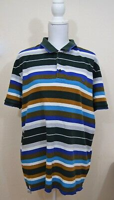 Vintage Unisex Levis stripped polo shirt XXL 70's 80's 90's oversized Green Blue