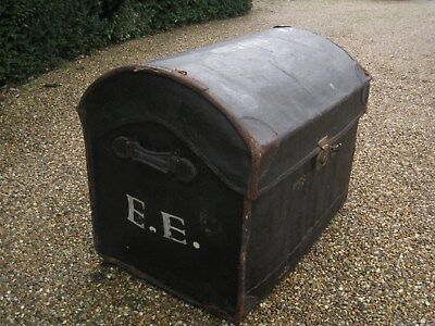 Victorian travel steamer trunk chest leather bound dome top